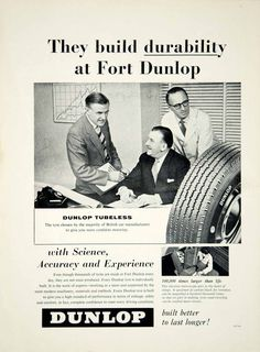1958 Ad Dunlop Tubeless Tyre Tire Car Automobile Part Garage Transportation YMT2