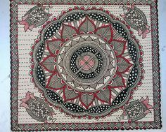 Madhubani Indian Traditional Paintings, Indian Art Paintings, Traditional Art, Madhubani Art, Indian Folk Art, Madhubani Painting, Art N Craft, Angel Art, Tribal Art