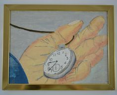 Vintage Signed Painting of Railroad Train Conductor Checking Time - 9:38 and we're On Time - Chronometer - Pocket Watch - Railroad-Timepiece