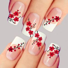 Nail art is a very popular trend these days and every woman you meet seems to have beautiful nails. It used to be that women would just go get a manicure or pedicure to get their nails trimmed and shaped with just a few coats of plain nail polish. Nail Art Designs, Flower Nail Designs, French Nail Designs, Nail Designs Spring, Nails Design, Beautiful Nail Designs, Rose Nail Art, Rose Nails, Flower Nail Art