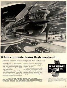 """When commute trains flash overhead..."" (Arthur Radebaugh, 1953)"