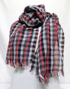 Dark Blue, Gray, Red Men's Scarf - Dark Blue, Gray, Red Scarf - Dark Blue, Gray, Red Soft Cotton Scarf - KR1411082 #handmadeatamazon #nazodesign