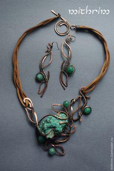 """Купить Серьги """"Малахит-трава"""" - зеленый, серьги длинные, серьги с камнями, серьги агат, травы"""