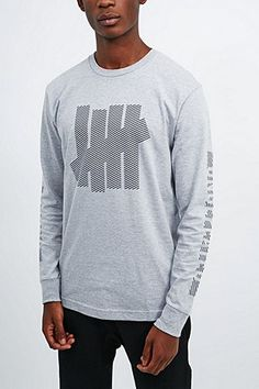 Undefeated Caution Long Sleeve Tee in Grey - Urban Outfitters