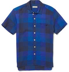 Oliver Spencer Checked Linen Short-Sleeved Shirt