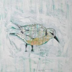 """""""Beach Bird"""" by Katherine McClure. 8 x 8 inches. Acrylic on gallery wrapped canvas. SOLD."""