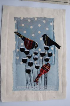 jantze tullett - unusual to have tartan birds! Bird Applique, Applique Quilts, Embroidery Applique, Machine Embroidery, Flower Embroidery, Embroidered Flowers, Embroidery Stitches, Small Quilts, Mini Quilts