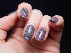 Grey Herringbone Nail Art