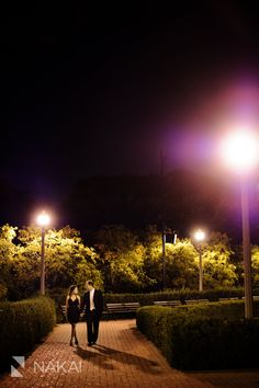 Chicago Engagement Pictures at Night! Park at night! Creative + romantic engagement photos! Chicago Engagement Photographer - Nakai Photography http://www.nakaiphotography.com