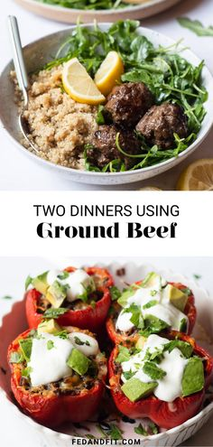 Today, I'm showing you the easiest, most efficient way to get two really delicious dinners on the table using ground beef and quinoa! Meal 1 is a really bold, delicious Greek-style meatball dinner and Meal 2 is a Tex Mex take on stuffed bell peppers.