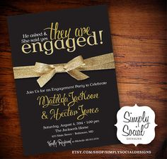 Black and Gold Glitter Ribbon Engagement Party Invitation