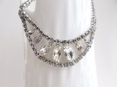 Vintage rhinestone necklace christmas parties by AlbertsAttic