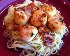 Scallops and Bacon over Pasta