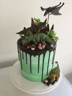 Dinosaur drip cake Our party planning experts share their tips on throwing the best dinosaur themed birthday party. You'll feel prehistoric with this roar-tastic birthday party theme! Birthday Party Themes, Boy Birthday, Cake Birthday, Birthday Ideas, Third Birthday, Birthday Cakes For Boys, Festa Jurassic Park, Dinosaur Birthday Cakes, Dinosaur Cupcakes