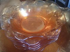Carnival Glass Orange Serving Bowl and Dishes by StaceyDoesVintage