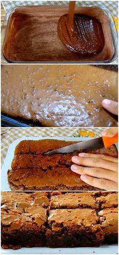 INGREDIENTES: 6 colheres de sopa de chocolate em pó 1 e 1/2 xícaras de açúcar 2 ovos grandes 1 xícara de farinha de trigo 100 g de manteiga derretida 1 colher (sopa) de essência de baunilha 3/4 colher (chá) de fermento 3/4 colher (chá) de sal MODO DE PREPARO: 1.Numa tigela misture todos os ingredientes secos (açúcar, farinha e chocolate); 2.Despeje aos poucos os ingredientes molhados (ovos batidos e manteiga derretida) na tigela dos secos; Misture bem 3.Despeje numa forma…