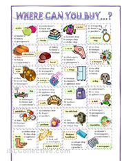 Where can you buy these? - a worksheet with twenty-four multiple choice prompts for learners of English.