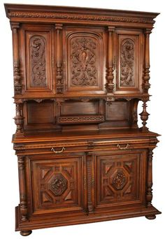 Antique+French+1900+Renaissance+Carved+Walnut+Buffet+Cabinet+Server+Sideboard