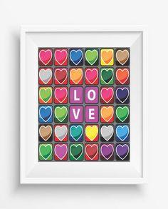 Love,colorful hearts,Love prints,inspirational quote,home decor,wall printable,girls room,digital print,gift art print