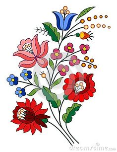 Illustration about A beautiful hungarian Kalocsai floral pattern. Illustration of kalocsai, needlecraft, material - 33245916 Hungarian Embroidery, Folk Embroidery, Brazilian Embroidery, Learn Embroidery, Ribbon Embroidery, Art Floral, Motif Floral, Chain Stitch Embroidery, Embroidery Stitches