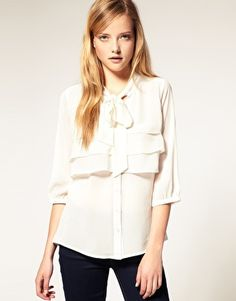 1.31.12- the return of the bow blouse - who knew? great way to layer chiffon, maybe it's georgette