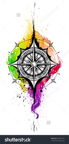 Compass. Ink watercolor drawing. Watercolor tattoo.