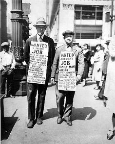 This photo shows men standing out on the street begging for a job. The depression put many people out of work, and they could not support their families. There also was not any hiring and it was rare to find a job.