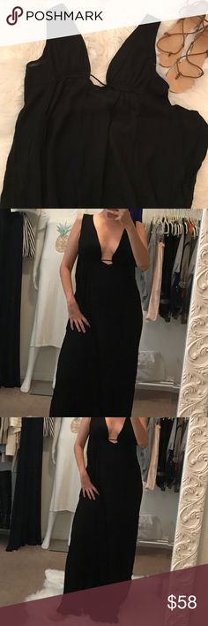 Sexy Plunge Flowy Maxi Dress Sexy Plunge Flowy Maxi Dress.  So soft and sexy, ties at the back.  Very low plunge at front and back.  Super lightweight rayon. Dresses Maxi