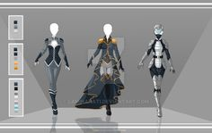 The left two would be Neikuli's casual uniform and dress uniform, and the third is a sci-fi....