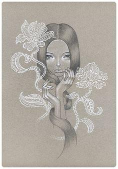 Audrey Kawasaki - Wanting - graphite and coloured pencil on paper