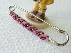 Large Decorative Safety Pin Brooch made by Swarovski Crystals Winter Jewelry for Chunky Knitwear or Scarves