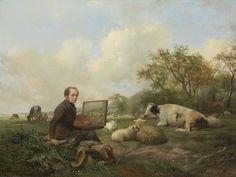 Artist Painting A Cow In A Meadow, By Hendrikus Van De Sande Bakhuyzen, 1850, Dutch Oil Painting. Self Portrait Of The Artist Painting A Cow In A Pasture (Bsloc_2016_2_137) Poster Print (36 x 24)