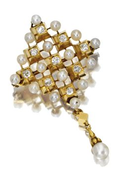 RENAISSANCE-REVIVAL GOLD, DIAMOND AND PEARL PENDANT-BROOCH, CARLO GIULIANO, CIRCA 1870.  The lozenge-shaped panel alternately set in a geometric pattern with cushion-shaped diamonds and small pearls in high collets, anchored by a pearl drop, signed twice with maker's mark C.G