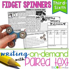 Fidget Spinners Paired Texts: Writing On-Demand Opinion Essay Editable