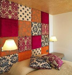 floor to ceiling headboard from 18x18 plywood wrapped in remnant fabric - easy DIY! More at: www.diycozyhome.com More