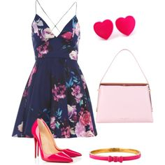 So Pink-Zarah Palmer by zpalmer2015 on Polyvore featuring polyvore, fashion, style, AX Paris, Christian Louboutin, Ted Baker and Kate Spade