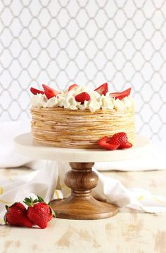 Soft crepes and strawberry pastry cream are layered perfectly to create this light, airy Strawberry Cream Crepe Cake. Strawberry Crepe Cake Recipe, Strawberry Crepes, Desserts Français, Delicious Desserts, Cupcake Recipes, Dessert Recipes, Brunch Recipes, Breakfast Recipes, Cupcakes