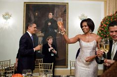 President Obama and First Lady Michelle Obama toast during an official dinner hosted by Salvadoran President Mauricio Funes at the National Palace in San Salvador, El Salvador, March 22, 2011