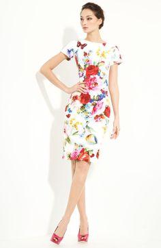 Dolce & Gabbana Printed Stretch Cotton Dress in Beige (white multi) - Lyst