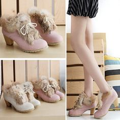 Japanese and Korean version of the autumn and winter shoes pink rabbit fur really rough cross with women's boots with lace-up ankle boots plush high-heeled boots - Taobao