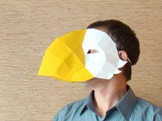 Vogel snavel masker, vogel masker, papier partij masker, Halloween masker, Papercraft afdrukbare PDF DIY-sjabloon door Paperstatue op Etsy https://www.etsy.com/nl/listing/250923215/vogel-snavel-masker-vogel-masker-papier