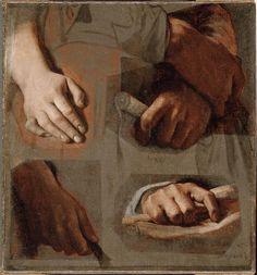 "Jean-Auguste-Dominique Ingres  Studies for ""The Apotheosis of Homer""(ca. 1827)  · Hands (Virgil, Corneille, Euripides) / Homer's Feet  Musée du Louvre, Paris"