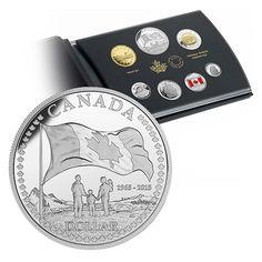Ensemble épreuve numismatique avec dollar en argent édition spéciale : 50e anniversaire du drapeau canadien (2015) 100$