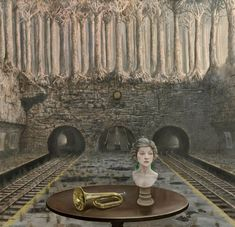 ''The relevance of time '' by Mike Worrall.Born 1942 in Matlock Derbyshire, UK.Based on the Central Coast of NSW, Australia The enigmatic, dreamlike paintings of Mike Worrall are often inspired by historical themes.