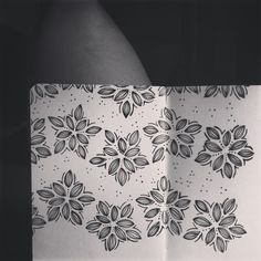 Chevron flowers. Drawn with microns on a 3.5 x 5.5 moleskine sketchbook.