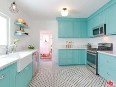 Looking for White Kitchen ideas? Browse White Kitchen images for decor, layout, furniture, and storage inspiration from HGTV. Paint For Kitchen Walls, Blue Kitchen Cabinets, Kitchen Tiles, Kitchen Flooring, Kitchen Decor, Tile Flooring, Base Cabinets, Tiffany Blue Kitchen, Light Blue Kitchens