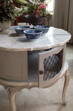 Paris Gray and Old White French Provincial Marble Top Drum Table