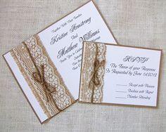Handmade Rustic Lace and Burlap Wedding Invitations - DIY? Wedding Invitations Diy Handmade, Country Wedding Invitations, Rustic Invitations, Wedding Invitation Cards, Handmade Wedding, Wedding Stationery, Wedding Cards, Diy Wedding, Trendy Wedding