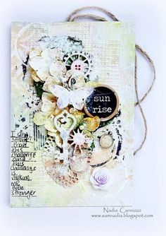 Scraps of Elegance kit club - created by Nadia Cannizzo with the April Possibility kit Altered Books, Altered Art, Decoupage, Altered Canvas, Handmade Tags, Paper Tags, Graphic 45, Mixed Media Canvas, Art Journal Inspiration