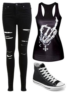 """Emo"" by xxpiercethornxx ❤ liked on Polyvore featuring moda, Miss Selfridge y Converse                                                                                                                                                     Más"